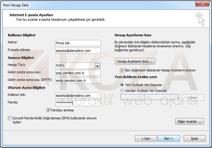 Yandex Kurumsal Mail Outlook 2010 Kurulumu